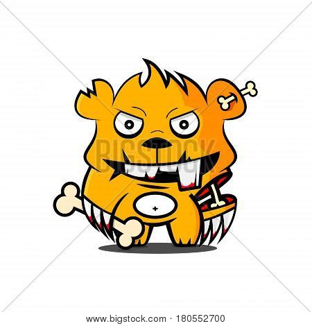 Character of a small cartoon ferocious bear with a bone in his hand