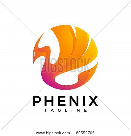 The logo of a fire bird in bright fire colors. phoenix