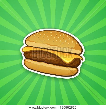 Vector illustration. Cheeseburger with cheese. Unhealthy food. Sticker in cartoon style with contour. Decoration for patches, prints for clothes, badges, posters, emblems, menus
