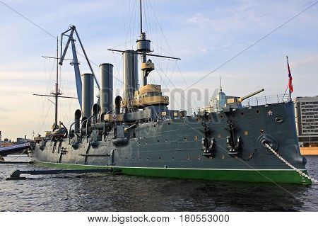 Saint-Petersburg Russia - 19 July 2016: Linear cruiser Aurora symbol of the October 1917 revolution in Russia
