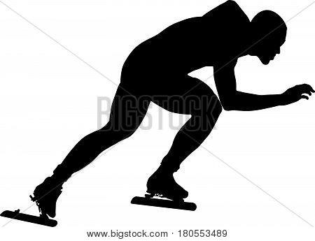man athlete speedskater turn ice arena black silhouette