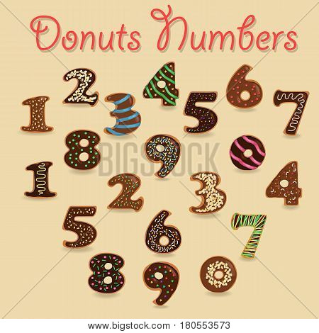 Chocolate Donuts Numbers. Brown Numerals with colorful cream and nuts decor. Vector Illustration
