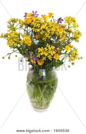 Flower Bouquet In A Vase On A White Background