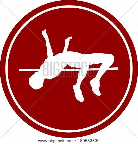 icon high jump female athlete white silhouette red circle