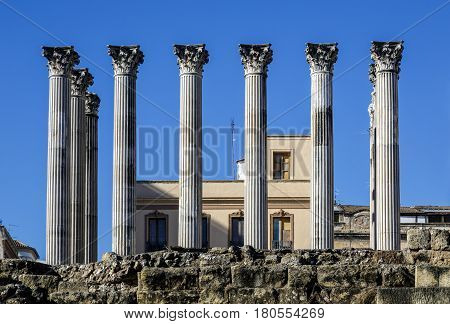 Ruins of the Roman Temple in Cordoba Andalusia Spain