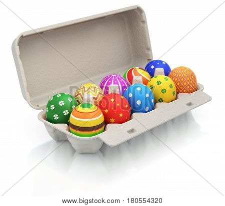 Colorful easter eggs in a carton package - 3D illustration