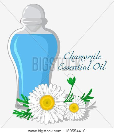 Bottle with essential oil of chamomile with a flower on the background