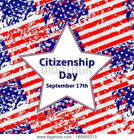 Citizenship Day September 17 text on the white star USA flags background.