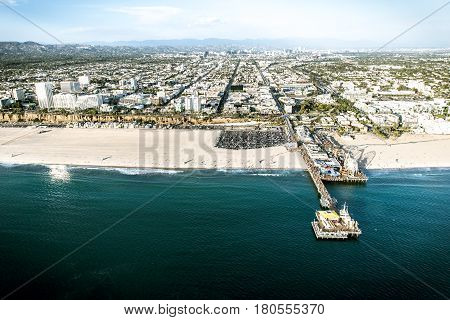 Aerial view of sand and seashore in Santa monica