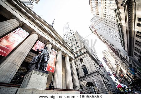 NEW YORK CITY -SEPTEMBER 17 2016. Federal Hall National Memorial on Wall Stree in Manhattan New York City. The Exchange building was built in 1903.