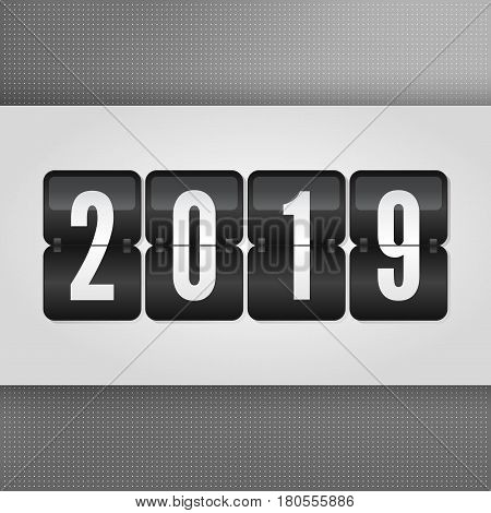 2019 Happy New Year Scoreboard. Grey black and white vector flip symbol on dotted background. Infographic sign