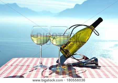 Wine against Geneva lake, Switzerland