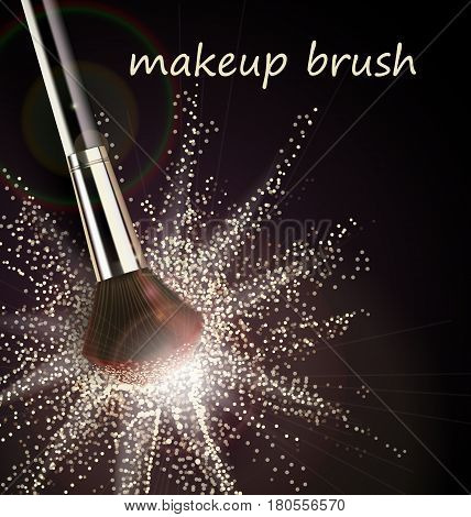 Make-up brush with light powder explosion on black background Vector template