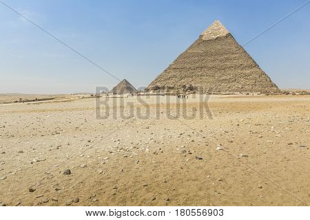 Great Egyptian pyramids in Giza in Cairo