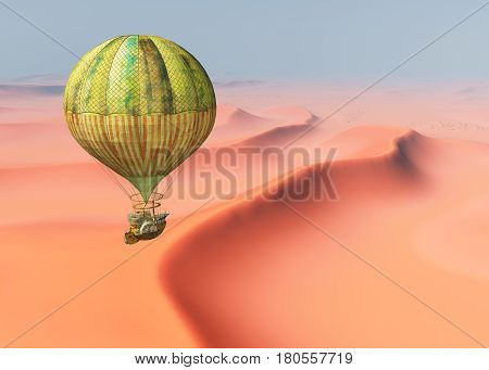 Computer generated 3D illustration with a fantasy hot air balloon over a desert landscape