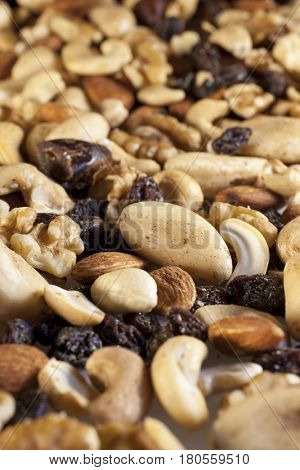 Closeup of a pile of mixed dried fruit and nuts