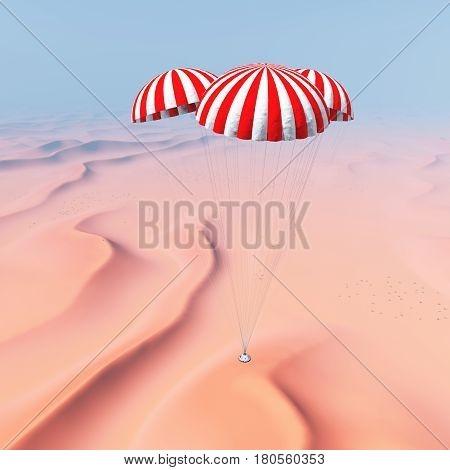 Computer generated 3D illustration with a space capsule approaches touchdown in a desert landscape