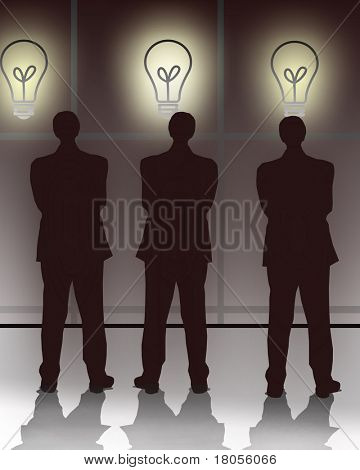 Three businessman watching the screen showing bulb representing ideas.Concept:Decision making