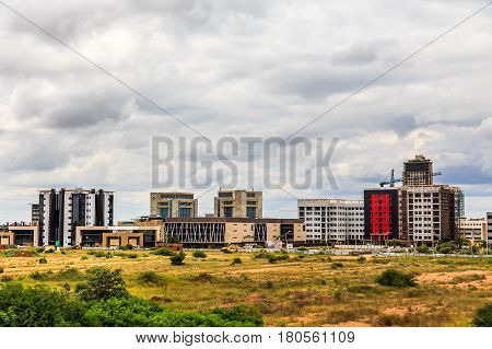Rapidly Developing Central Business District, Gaborone, Botswana, 2017