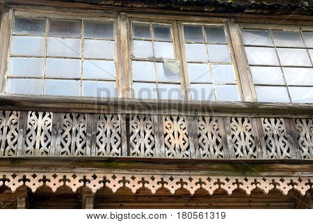 Window of old residential wooden building in Gatchina Russia.