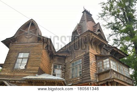 Old residential wooden building in Gatchina Russia.