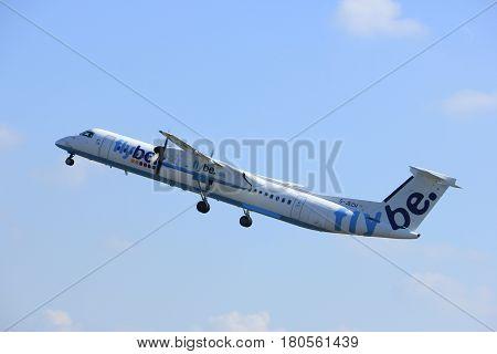 Amsterdam the Netherlands - April 2nd 2017: G-JECH Flybe De Havilland Canada DHC-8-402Q Dash 8 takeoff from Polderbaan runway Amsterdam Airport Schiphol