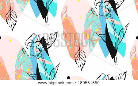 Hand made vector abstract textured trendy creative collage seamless pattern in tiffany bluepastel colors on white background with different texturesgraphic flowersleaves and shapes.Modern graphic
