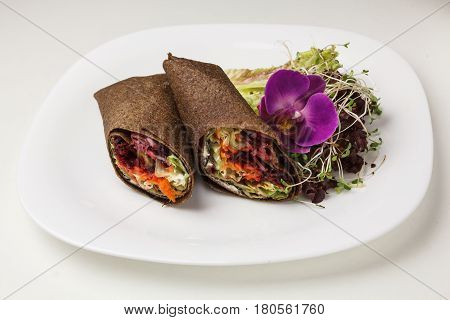 Tortilla Wrap Or Burrito With Tofu Greens And Vegetables Vegetarian Healthy Food With Sprouts And Le