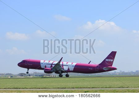 Amsterdam the Netherlands - April 2nd 2017: TF-GPA WOW air Airbus A321-200 takeoff from Polderbaan runway Amsterdam Airport Schiphol