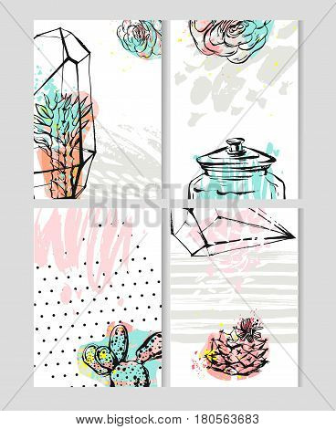Hand drawn vector abstract Save the Date greeting card collection set templates with succulentcactus plant in terrarium and freehand texture in pastel color.Design for weddingjournalingscrapbooking