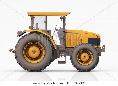 Computer generated 3D illustration with the side view of a yellow tractor