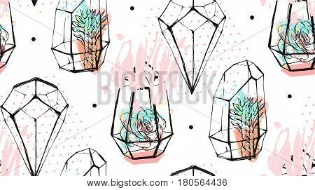 Hand drawn vector abstract seamless pattern with rough terrarium and succulent plants in pastel color isolated on white background.Design for decorationfashionfabricsave the datescandinavian decor