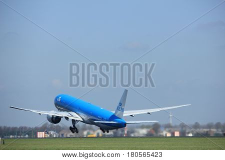 Amsterdam the Netherlands - April 2nd 2017: PH-BVK KLM Royal Dutch Airlines Boeing 777-300 takeoff from Polderbaan runway Amsterdam Airport Schiphol