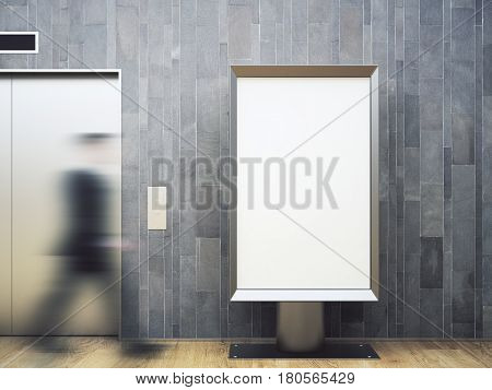 Blurry view of blurry businessman walking in wooden interior with elevator and empty white poster. Mock up 3D Rendering