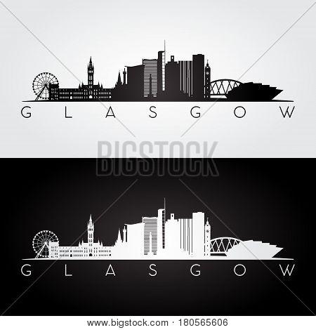 Glasgow skyline and landmarks silhouette black and white design vector illustration.