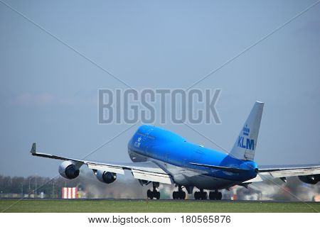 Amsterdam the Netherlands - April 2nd 2017:PH-BFI KLM Royal Dutch Airlines Boeing 747 City of Jakarta takeoff from Polderbaan runway Amsterdam Airport Schiphol
