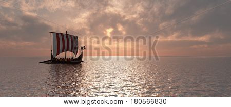 Computer generated 3D illustration with a Viking ship at dusk