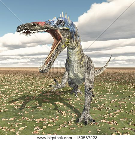 Computer generated 3D illustration with the dinosaur Suchomimus