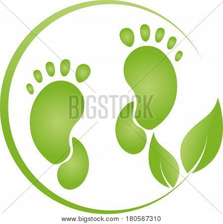 Two feet and leaves, foot care and naturopathic logo