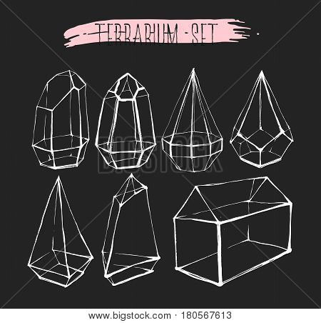Hand drawn vector graphic line glass terrarium collection set isolated on black background.Design for gardeningdecorationinterior.Save the datewedding elements in scandinavian style.Hipster concept