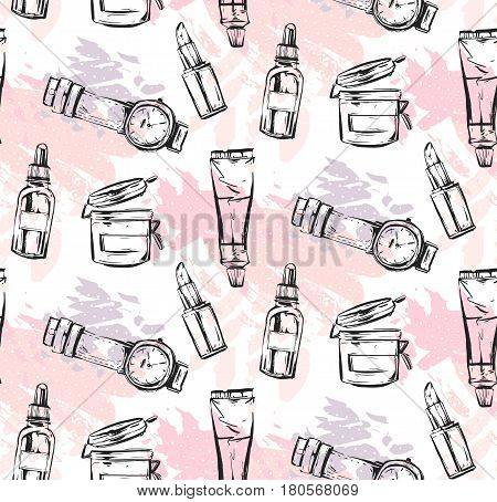 Hand drawn vector abstract textured graphic fashion chic style collection seamless pattern with girl accessories in pink pastel colors isolated on white background.Design for logojournalingfashion