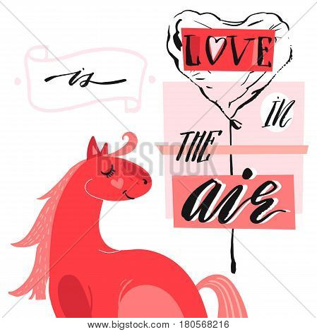 Hand drawn vector abstract unique cartoon Valentines day concept card template with cute horseheart shape ballon and modern ink calligraphy phase Love is in the air in pastel colors isolated on white