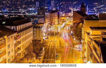 The main street in Wuppertal-Barmen NRW Germany.