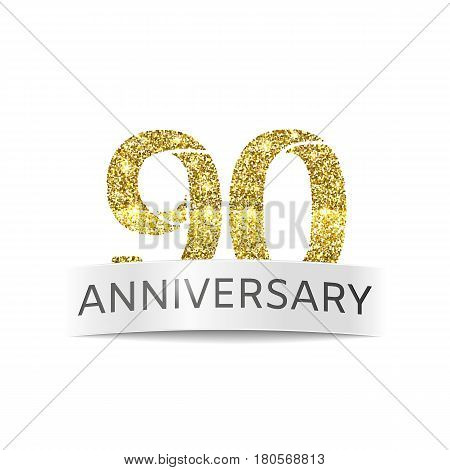 Ninety year anniversary. The banner of the 90th birthday golden glitter color on white background