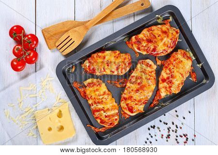 Grilled Chicken Breast Coated With Melted Cheese