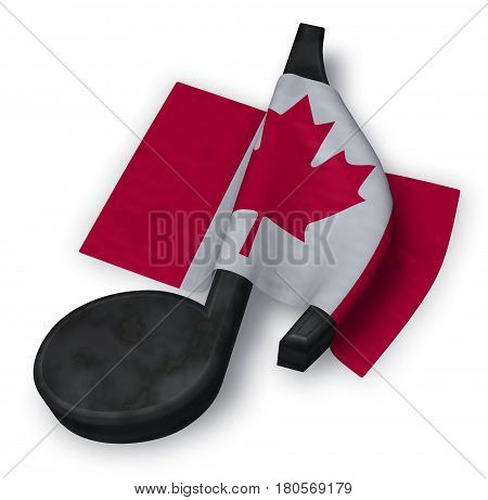 music note and canadian flag - 3d rendering