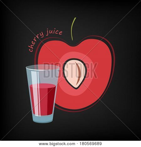 Glass of cherry juice and a slice of cherry in the background