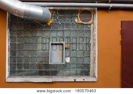 Street Building Wall With Window And Ventilation Pipe