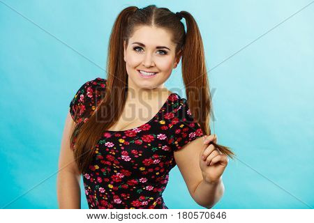 Happy Teenager Girl With Ponytails