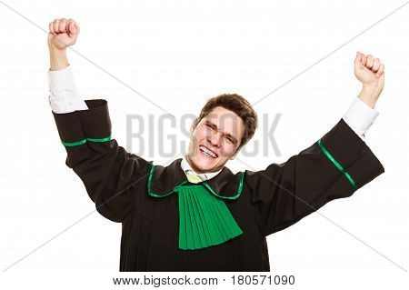 Successful life. Content young lawyer with fists in air. Educated man happy with career.